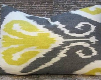 SALE Designer Pillow Cover - Bansuri Ikat Charcoal -