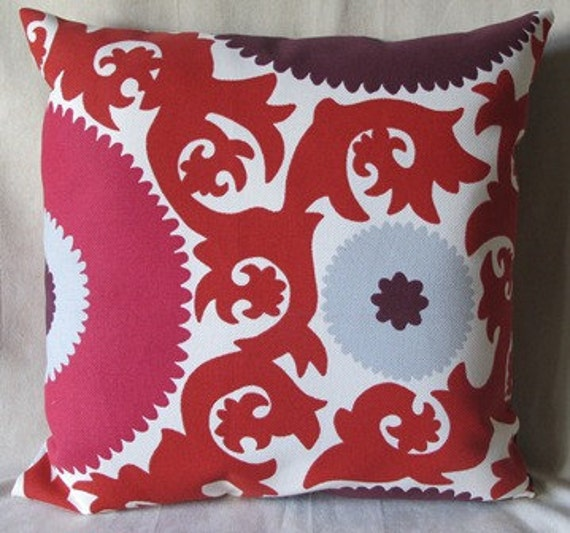 Designer Pillow Cover - Farhi Suzani - 20 x 20 - Indoor/Outdoor