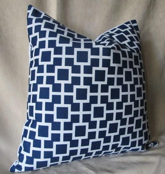 Designer Pillow Cover 18 x 18 - Cradle Navy - Indoor/Outdoor