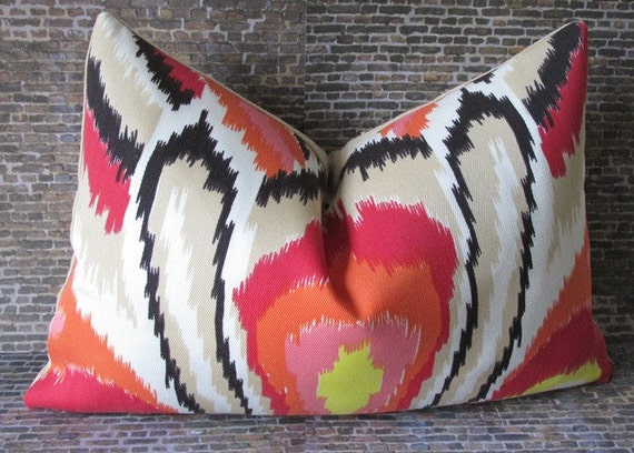 Pair of 2 Trina Turk Designer Pillow Cover - 12 x 18 - Peacock Punch