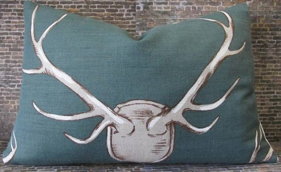 Designer Pillow Cover 10 x 20-  Eric Cohler Antlers by Lee Jofa - Teal