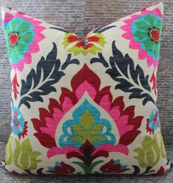 Designer Pillow Cover - 16 x 16, 18 x 18, 20 x 20, 22 x 22 - Panama Desert Flower -