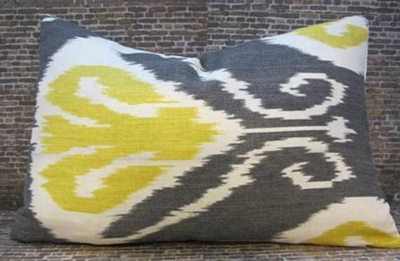 SALE Designer Pillow Cover - Bansuri Ikat Charcoal -