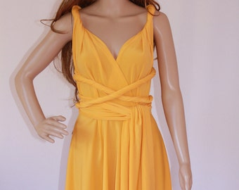 YELLOW Convertible Maxi Summer Dress, Long or Short Wrap Dress