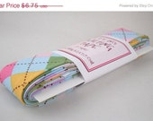 CLEARANCE Quilt Binding - Remix Argyle in Spring Handmade Quilting Tape, 3 Yards