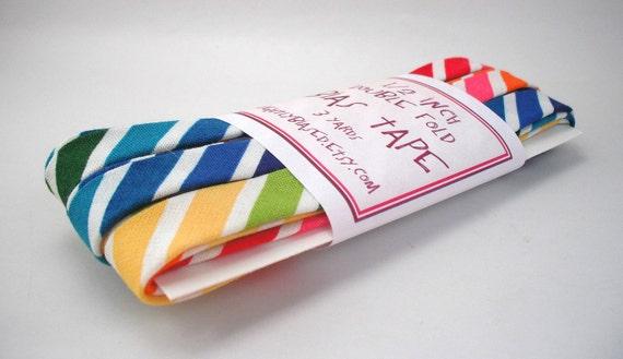 Bias Tape - Remix Stripe in Bright Handmade Double Fold Bias Tape, 3 Yards