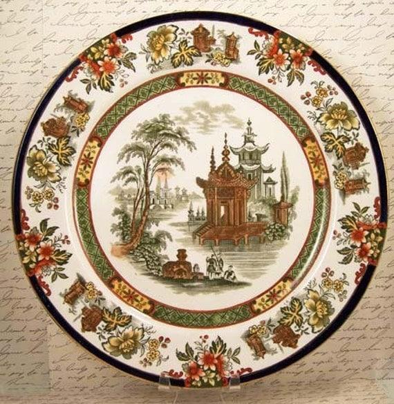 Antique Doulton Burslem Madras Polychrome Plate Beautiful