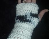 Black and White Fingerless Gloves.  FREE SHIPPING