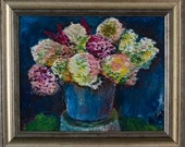 "Bouquet in Blue Basket 10""X12"",Stretched Canvas, Framed, Hang Ready."