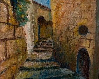 "Old Jaffa Street  No. 1  10""X13"" oil paint on board Framed on 20""X18"" passe-partout, Hang Ready."