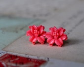 Peach Lily Earrings - Vintage Japanese Cabochons on Surgical Steel Posts
