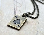 Ace Necklace. Ace up your sleeve. Alice in Wonderland Inspired. Brass Delicate Necklace. By Vintette on Etsy.