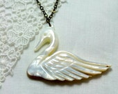 White Swan Necklace - Opalescent Shell Carved Swan on Brass Chain