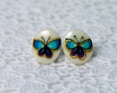 Earrings - Blue and Gold Butterfly - Stainless Steel Posts