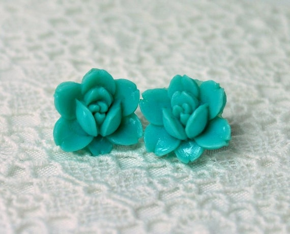 Turquoise Flower Earrings - Vintage Japanese Flower Cabochons on Surgical Steel Posts