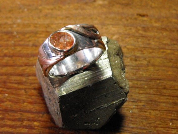 sunstone mokume flame silver ring