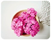 10 Flat mini mulberry paper flowers raspberry pink / pack