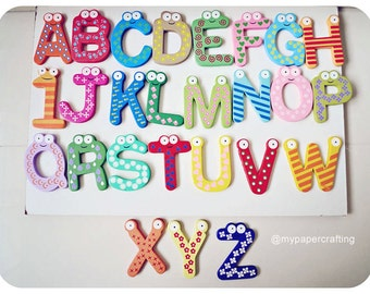 26pcs colorful wood alphabet letters plus FREE 10 numbers fridge magnet