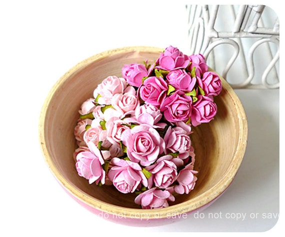 Mulberry mixed pink-02 paper Rose Buds flower / pack