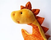 Dino dragon plushie cuddly toddlers yellow orange flower cotton