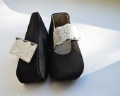 Women shoes READY TO SHIP ballerinas size 5,5W 36 handmade black flower strap