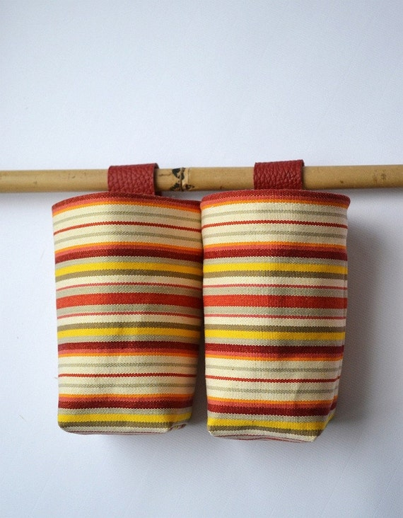 Canvas pocket handmade wall small hanging basket set of two
