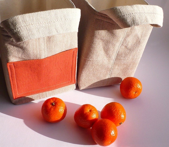 RESERVED - Fabric box basket pocket handmade cotton natural oatmeal orange set of two