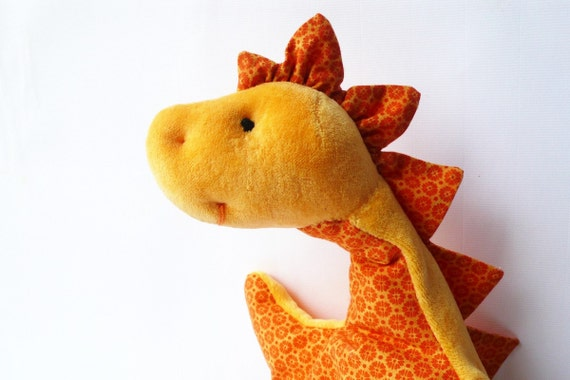 Dino dragon plushie cuddly toddlers yellow orange flower cotton