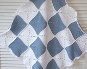 crochet baby blanket, white and blue organic cotton