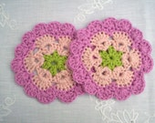 crochet coasters doilies, pink organic cotton