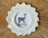 crochet hoop, crochet photo frame, winter wall decor