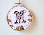 letter M embroidery hoop