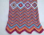 Crochet throw blanket Moroccan style, spice colour afghan