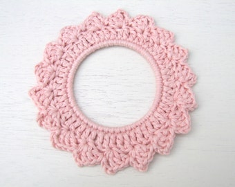 crochet hoop, crochet photo frame, hoop wall decoration, FREE UK shipping, choice of pink colours, pink wall decoration, pink hoop,