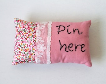 Pin here, embroidered pincushion