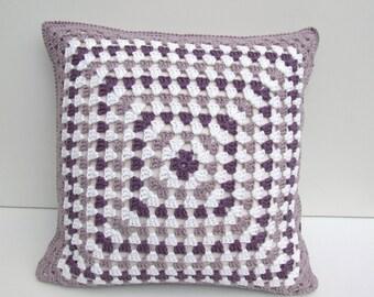 crochet cushion cover, granny square  in organic cotton, Free UK shipping,  eco friendly home decor, purple and mauve cushion cover,