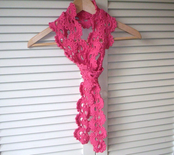 Pink Flambé crochet scarf, summer/fall scarf