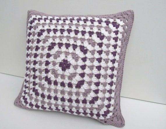 crochet cushion cover, granny square  in organic cotton, Free UK shipping,  eco friendly home decor