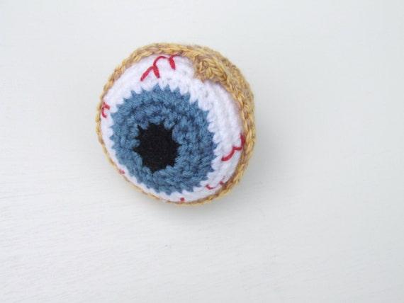 amigurumi crochet eyeball cat toy, paperweight, pincushion