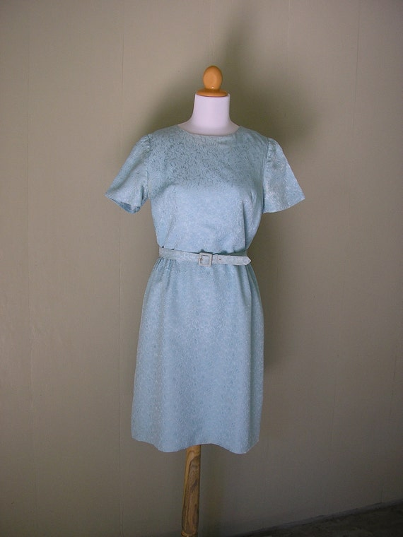 1950s dress and jacket /  50s blue dress / 1950s Blue brocade dress and jacket