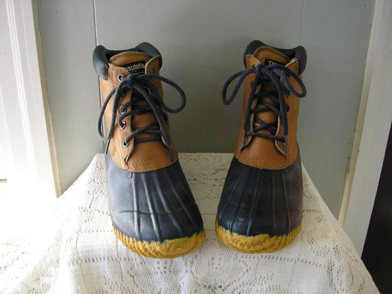 Vintage Leather and rubber boots / Thinsulate Funsteps Duck boots / size 10