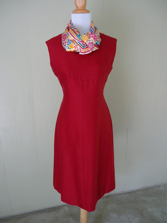 1960s dress / linen dress / Crimson Red Crush dress