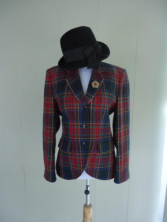 RESERVED                   tartan blazer / plaid blazer /  Kenzo of Paris silk blazer