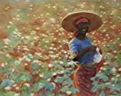 "Original Watercolor ""Cotton Fields"""