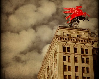 Flying Red Horse, Dallas Pegasus, Fine Art Photography, Texas Photography, sepia Mobil 66