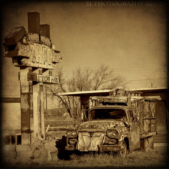 Fine Art Photograph Sepia Print Western Route 66 Rustic Wall Art Vintage Truck Road Sign
