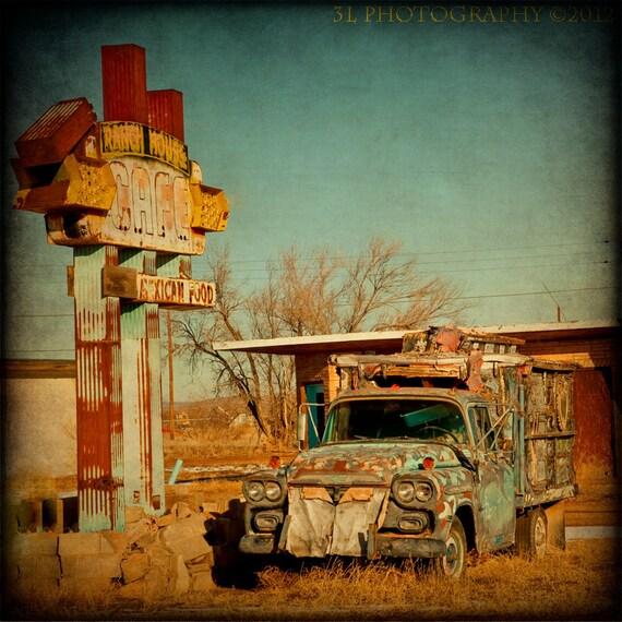 Rustic Home Decor Southwestern Fine Art Print Vintage Truck Photograph Route 66 Photography