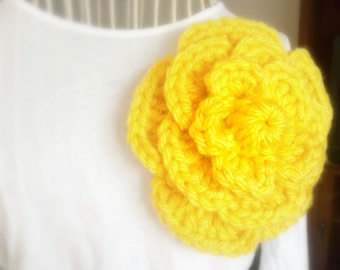 Yellow Crochet Flower Pin - Ready To ship