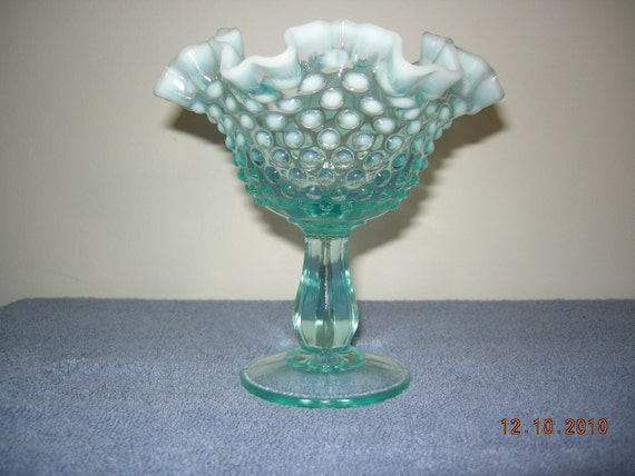 """Fenton Blue Opalescent Hobnail Footed Comport 6"""""""