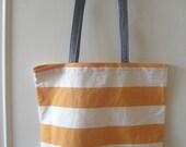 Large Canvas Orange and White Stripe Tote